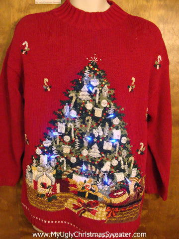 Huge Bright Tree Light Up Ugly Xmas Sweater