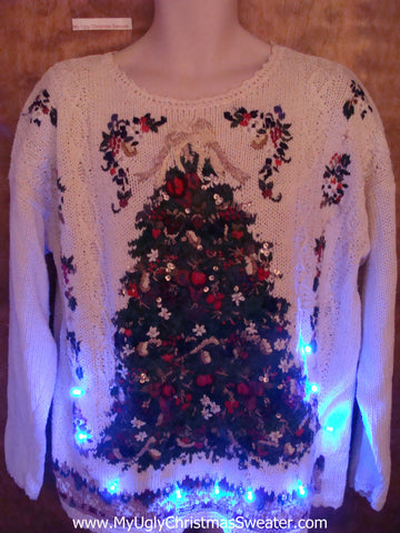 Corny Green Tree Light Up Ugly Xmas Sweater