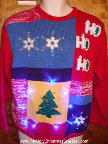 HoHoHo Red Light Up Ugly Xmas Sweater