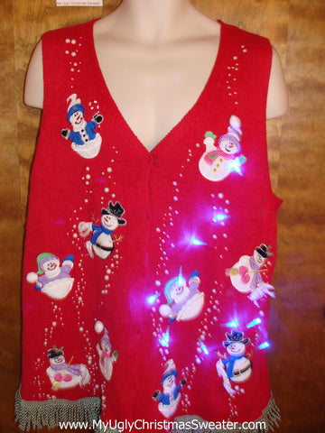 Snowmen with Bling Light Up Ugly Xmas Sweater Vest with Fringe