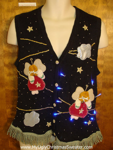 Crazy Flying Angels Light Up Ugly Xmas Sweater Vest
