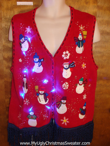 Red Light Up Ugly Xmas Sweater Vest with Fringe