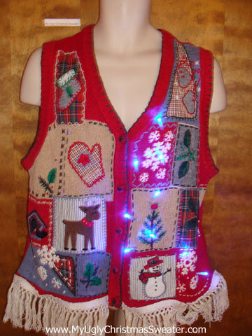 Corny Tacky Light Up Ugly Xmas Sweater Vest with Fringe