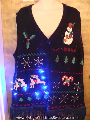 Light Up Ugly Xmas Sweater Vest with Fringe XXL
