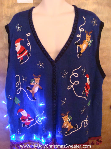 Ice Skating Reindeer and Santa Light Up Ugly Xmas Sweater Vest