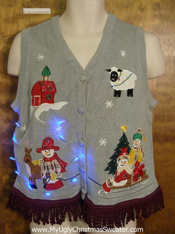 Cowboy Snowmen Light Up Ugly Xmas Sweater Vest