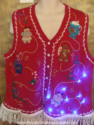 Best Gingerbread Man Light Up Ugly Xmas Sweater Vest XXL