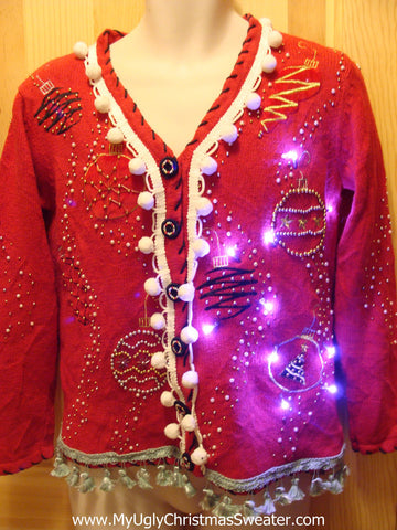 Tacky Ugly Christmas Sweater with Lights and Fringe (g14)