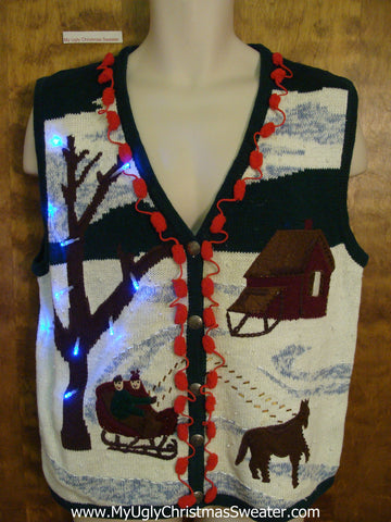 Horse and Sleigh Light Up Ugly Xmas Sweater Vest