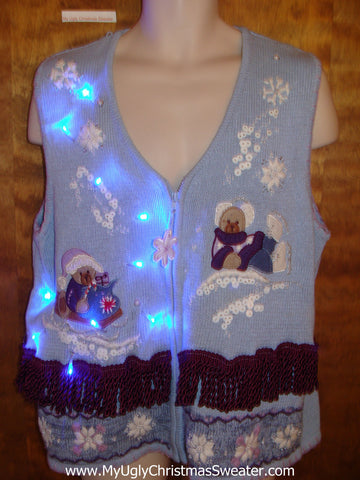 Baby Blue Bears Light Up Ugly Xmas Sweater Vest
