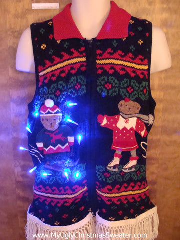 Bear Sledding Party Light Up Ugly Xmas Sweater Vest