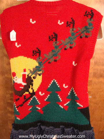 Flying Reindeer 2sided Light Up Ugly Xmas Sweater Vest