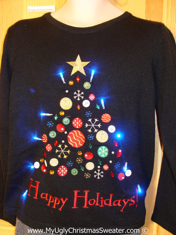 Tacky Xmas Sweater with Lights Tree with Happy Holidays (g150)
