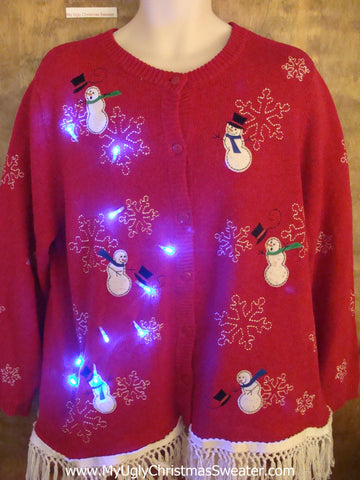 Snowman Friends Party Light Up Ugly Xmas Sweater