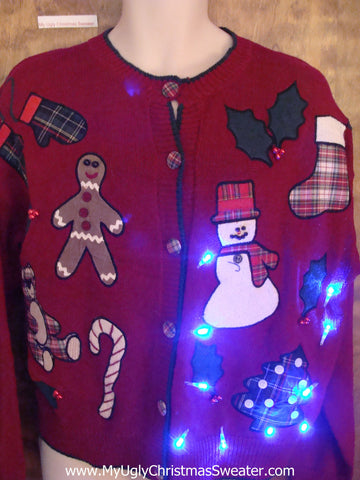 Tacky 80s Red Light Up Ugly Xmas Sweater