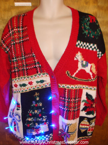 Retro 80s Mess Festive Light Up Ugly Xmas Sweater