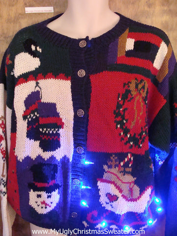 Mess Festive Blocks Light Up Ugly Xmas Sweater