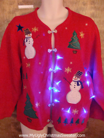 Light Up Snowmen Red Ugly Xmas Sweater