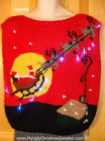 Tacky 80s Xmas Sweater Vest with Lights Santa Reindeer and Moon (g151)