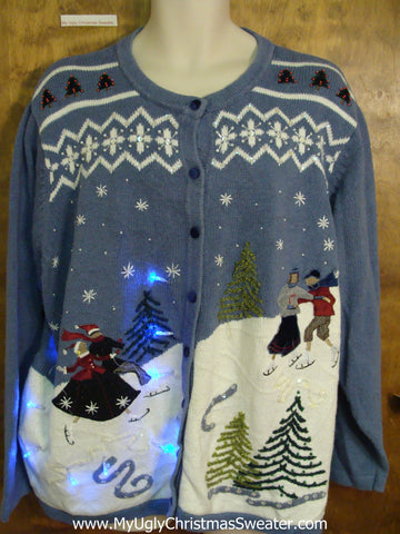 Old Fashioned Winter Fun Light Up Ugly Xmas Sweater