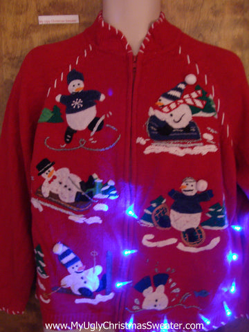 Winter Sports Snowmen Light Up Ugly Xmas Sweater
