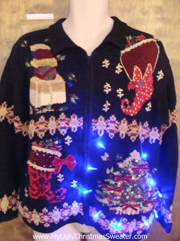 80s Horrible Mess Light Up Ugly Xmas Sweater