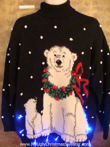 Sweet Festive Polar Bear Light Up Ugly Xmas Sweater