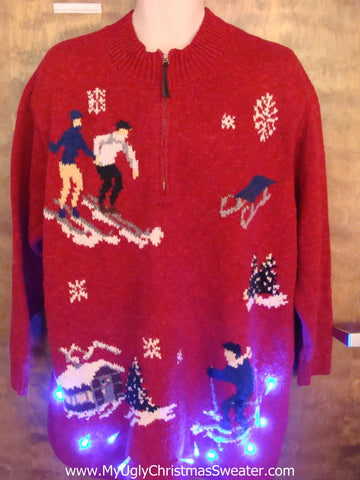 Old School Skiiers Light Up Ugly Xmas Sweater