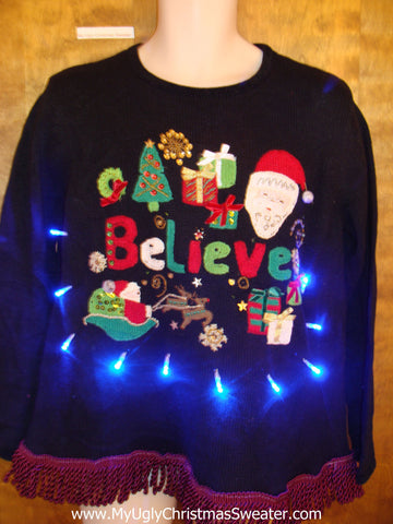 I BELIEVE Light Up Ugly Xmas Sweater