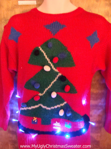 Best 80s Tree Light Up Ugly Xmas Sweater