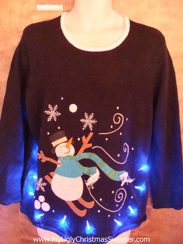 Skiing Snowman Funny Light Up Ugly Xmas Sweater