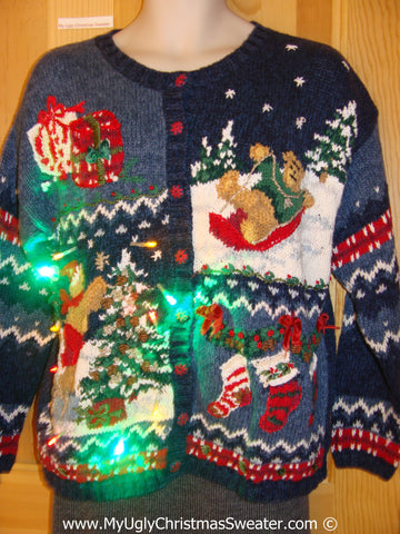 Tacky Xmas Sweater with Lights Cardigan Sledding Bear (g153)