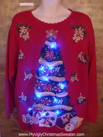 Retro 80s Huge Tree Light Up Ugly Xmas Sweater
