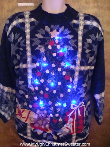 Crazy Tree Light Up Ugly Xmas Sweater