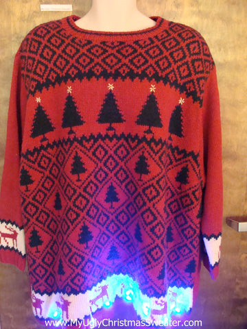 Big Size Vintage Trees Light Up Ugly Xmas Sweater