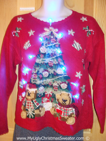 Tacky Xmas Sweater with Lights Huge Tree with Bears (g154)