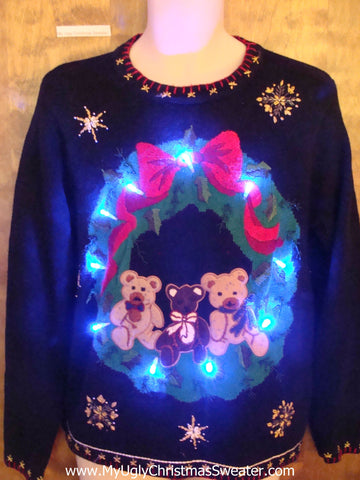 Teddy Bear Trio Light Up Ugly Xmas Sweater