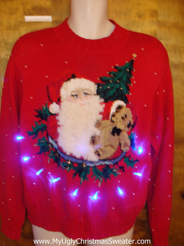 Rare 80s Santa Light Up Ugly Xmas Sweater