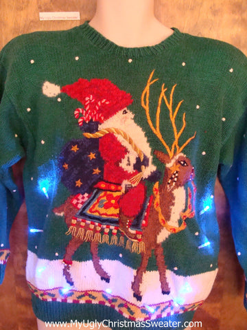 Best Santa and Huge Reindeer Light Up Ugly Xmas Sweater