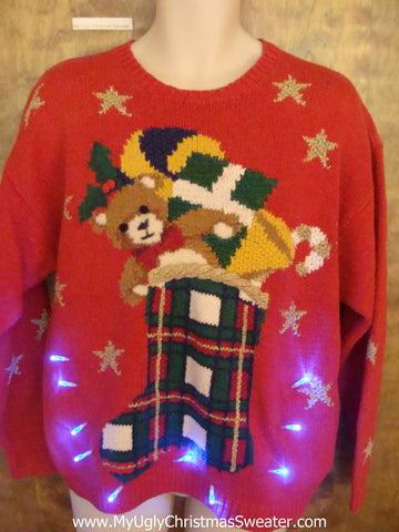 Funny 80s Plaid Stocking Light Up Ugly Xmas Sweater