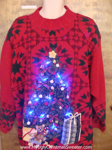 Super Sized Light Up Ugly Xmas Sweater with Tree