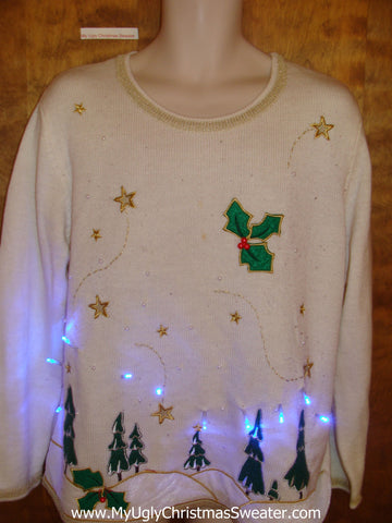 Soft White Light Up Ugly Xmas Sweater with Trees