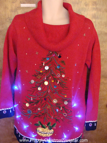 Bling 80s Tree Red Light Up Ugly Xmas Sweater