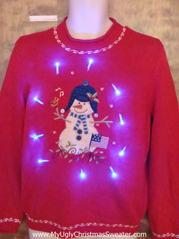 Funny Happy Snowman Light Up Ugly Xmas Sweater