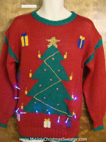 Vintage 80s Tree Light Up Ugly Xmas Sweater