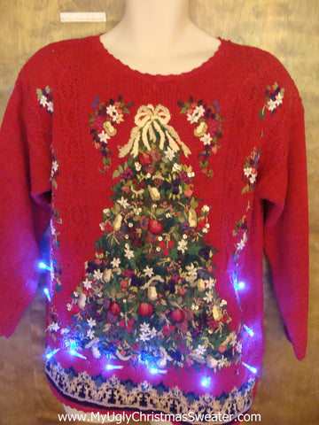 Light Up 80s Ugly Xmas Sweater with Huge Festive Tree