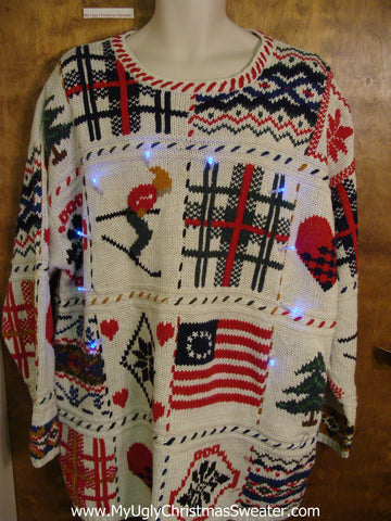 Patchwork Patriotic Light Up Ugly Xmas Sweater
