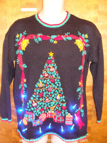 Horrible Tacky Tree Light Up Ugly Xmas Sweater
