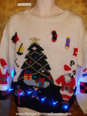 Classic 80s Festive Tree Light Up Ugly Xmas Sweater