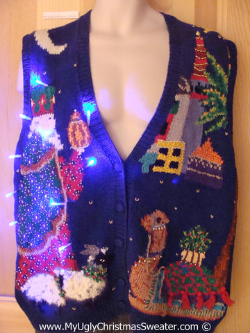Religous Theme Tacky Xmas Sweater Vest with Lights Wise Man Camel (g156)